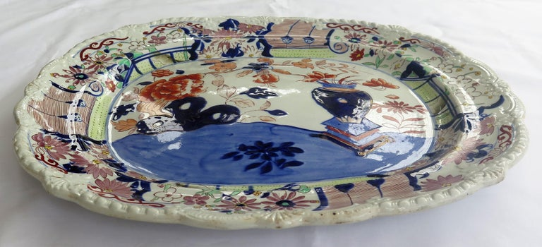 19th Century Large Early Mason's Ironstone Platter in Vase and Rock Pattern, Circa 1815 For Sale