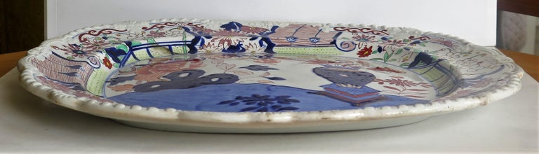 Large Early Mason's Ironstone Platter in Vase and Rock Pattern, Circa 1815 For Sale 1
