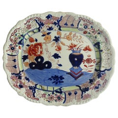 Large Early Mason's Ironstone Platter in Vase and Rock Pattern, Circa 1815