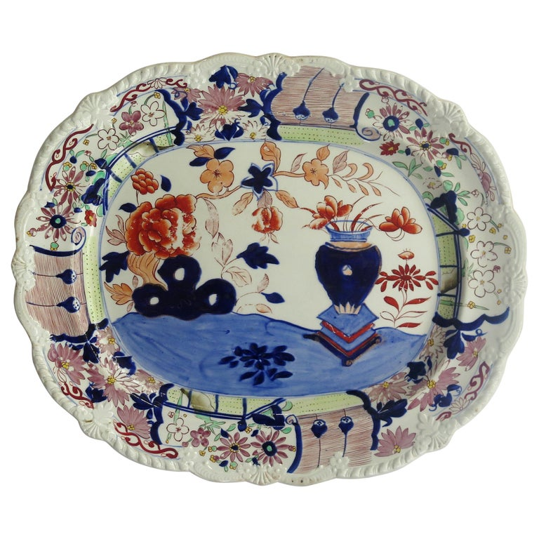 Large Early Mason's Ironstone Platter in Vase and Rock Pattern, Circa 1815 For Sale
