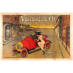 Large Early Original Antique Car Poster for the Voiturette CLC Automobile Paris