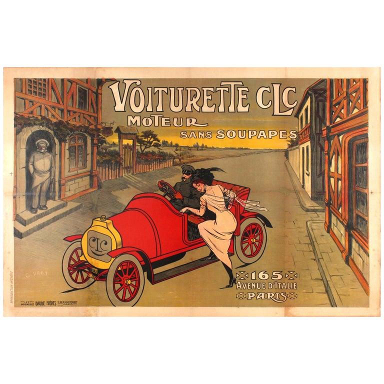 Large Early Original Antique Car Poster for the Voiturette CLC Automobile Paris For Sale