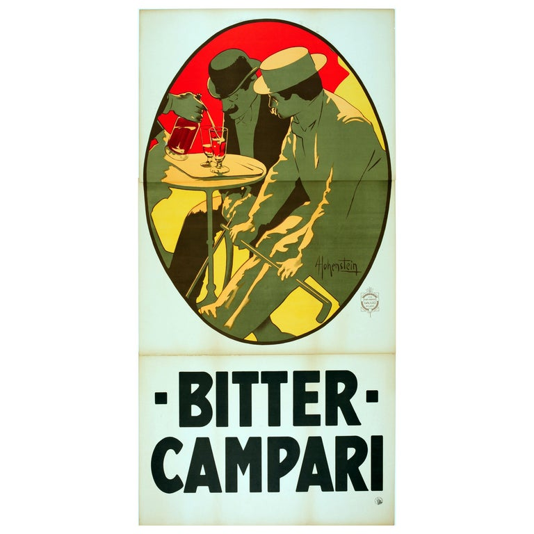 e0993810d0b2c Large Early Original Antique Drink Advertising Poster - Bitter Campari  Aperitif For Sale