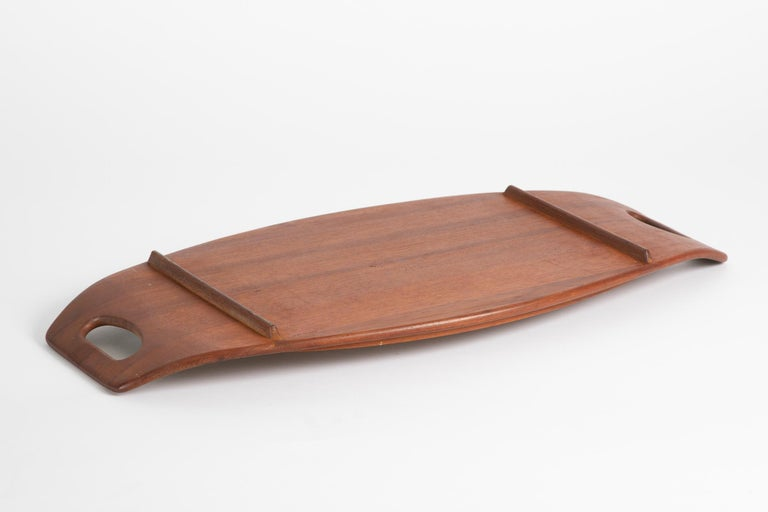 Large Early Stamp Jens Quistgaard for Dansk Staved Teak Serving Tray In Good Condition For Sale In Ferndale, MI