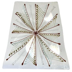 Large Early Wells Street Studio Abstract Fused Glass Plate by Higgins