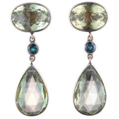 Large Earrings with Tourmalines Dangling with Green Quartz in Sterling Silver