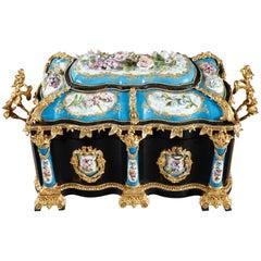 Large Ebony and Porcelain Coffer, Alphonse Giroux