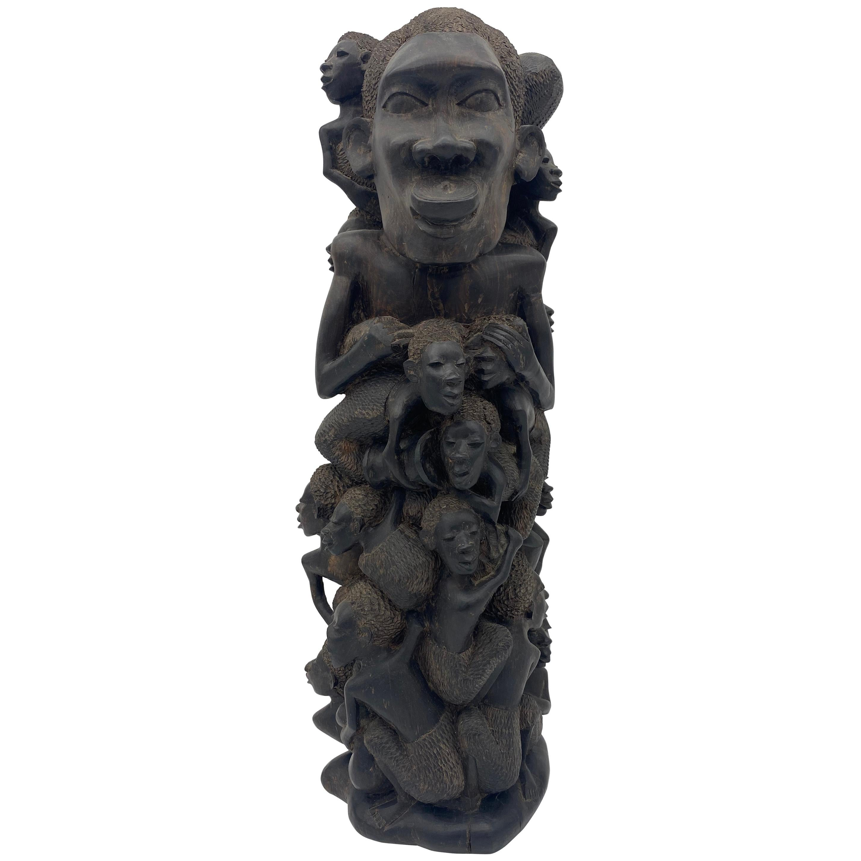 Large 18'' Ebony Wood African Families Tree Sculpture