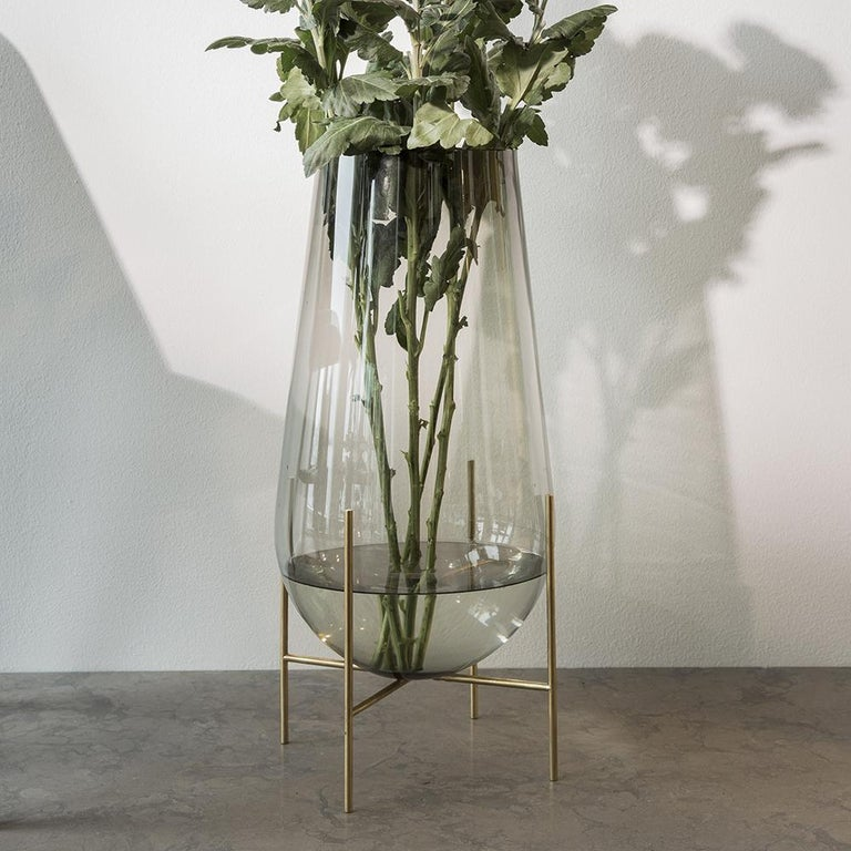 Contemporary Large Echasse Vase by Theresa Arns, with Brass Legs and Smoked Glass For Sale