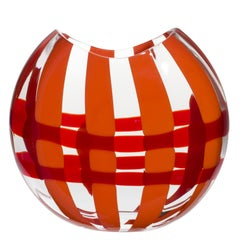 Large Eclissi Vase in Orange and Red by Carlo Moretti
