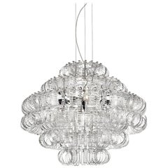 Large Ecos SP 90 Chandelier with Chrome Frame by Vistosi