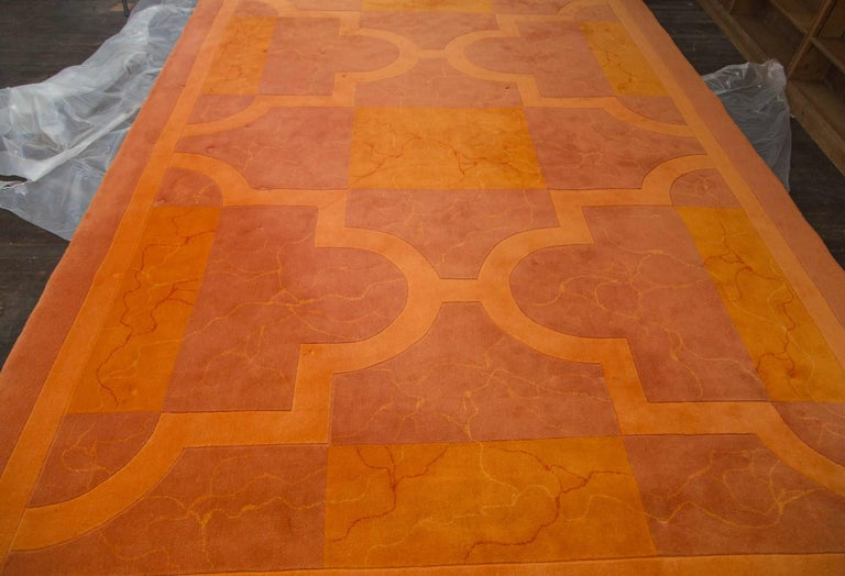 """1970s Edward Fields carpet in shades of orange. 100 % wool. Marked Edward Fields. Measures: 10' x 14"""" 10"""". Excellent vintage condition."""
