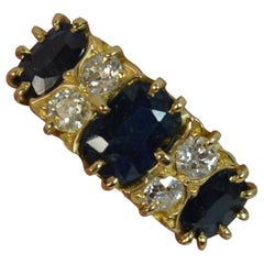 Large Edwardian 18 Carat Gold Sapphire and Diamond Cluster Ring
