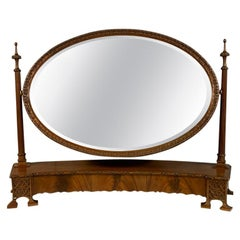 Large Edwardian Concave Dressing Mirror with Original Bevelled Mirror Glass