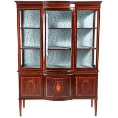 Large Edwardian Inlaid Mahogany Bow Front Display Cabinet