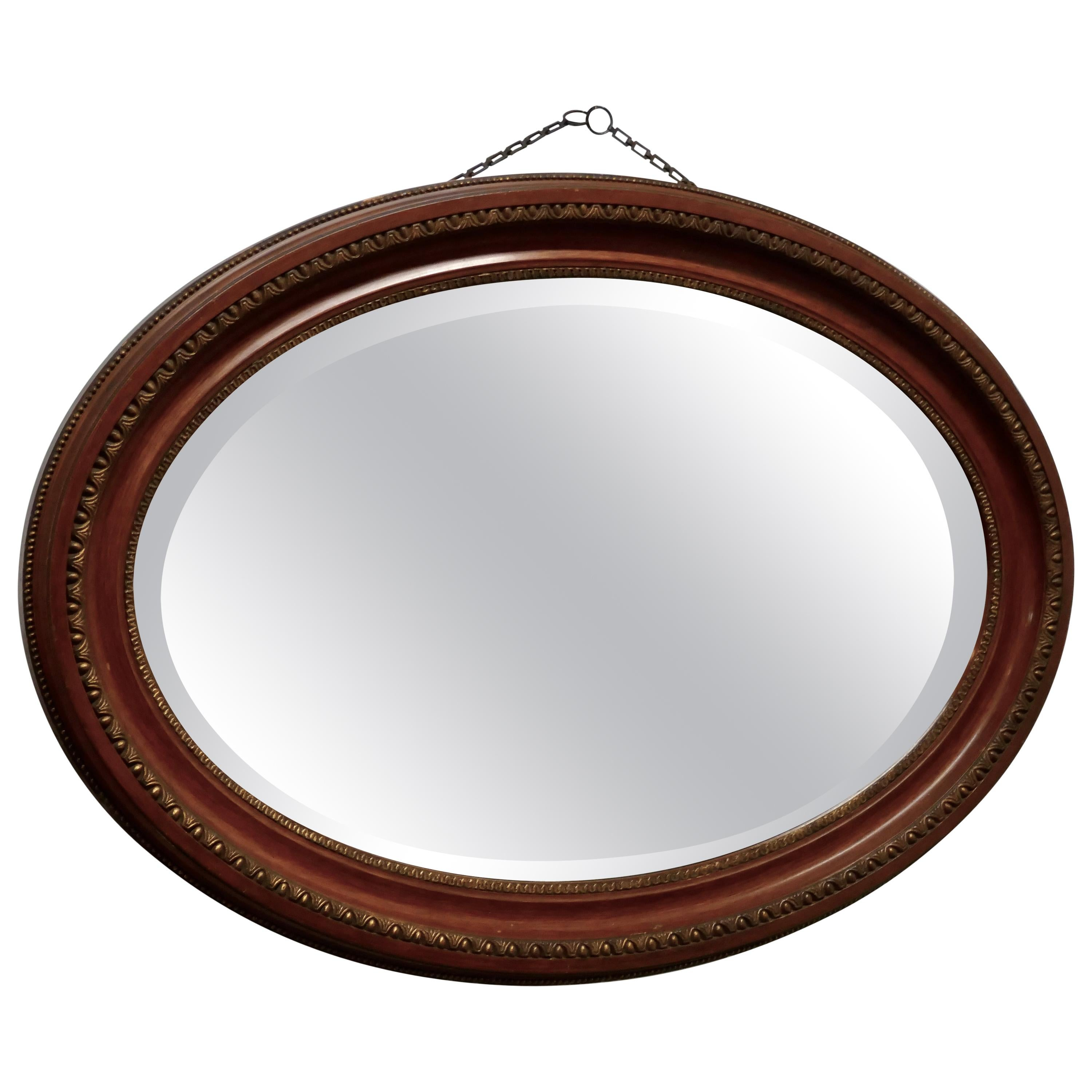 Large Edwardian Oval Wall Mirror