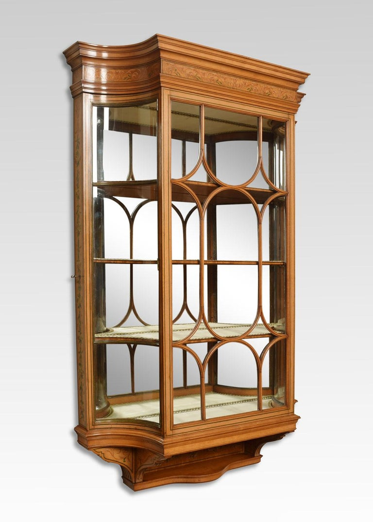 British Large Edwardian Painted Satinwood Wall Hanging Display Cabinet For Sale