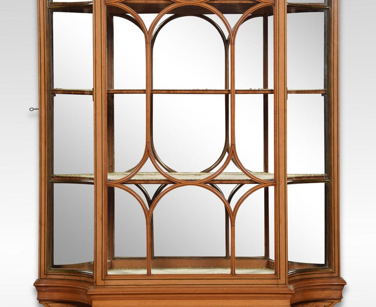 Large Edwardian Painted Satinwood Wall Hanging Display Cabinet In Good Condition For Sale In Cheshire, GB