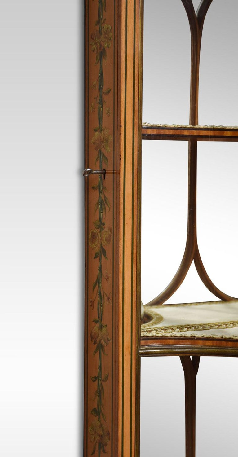 Large Edwardian Painted Satinwood Wall Hanging Display Cabinet For Sale 4