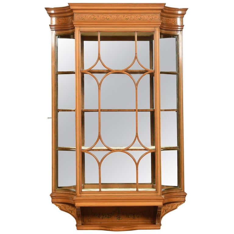 Large Edwardian Painted Satinwood Wall Hanging Display Cabinet For Sale
