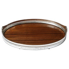 Large Edwardian Period Sheffield Silver Plate, Mounted Wood Gallery Tray
