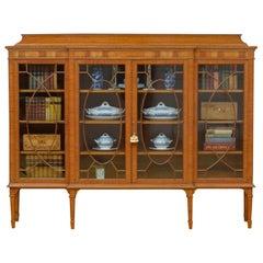 Large Edwardian Satinwood Display Cabinet Bookcase