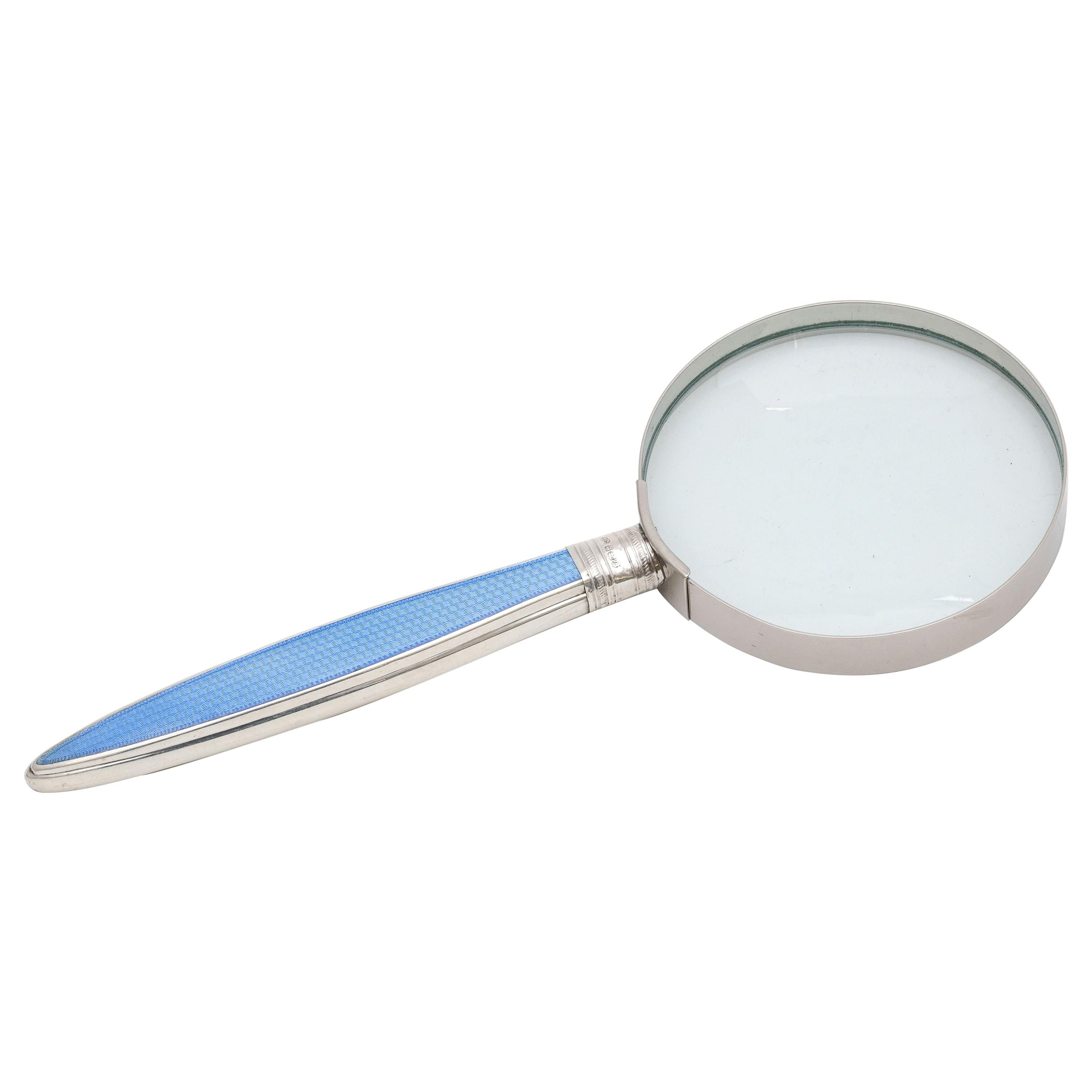 Large Edwardian Sterling Silver and Blue Enamel-Mounted Magnifying Glass