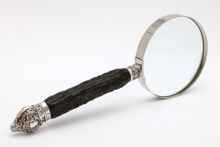 Large Edwardian Sterling Silver-Mounted Horn-Handled Magnifying Glass For Sale 4
