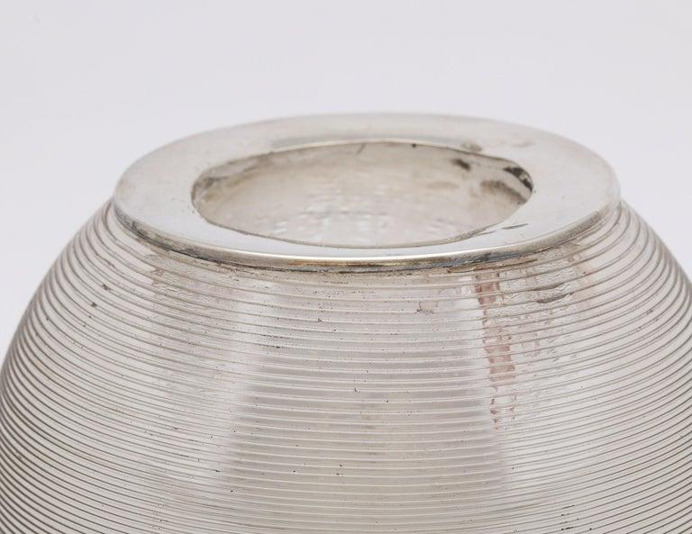 Large Edwardian Sterling Silver-Mounted Threaded Crystal Match Striker For Sale 1