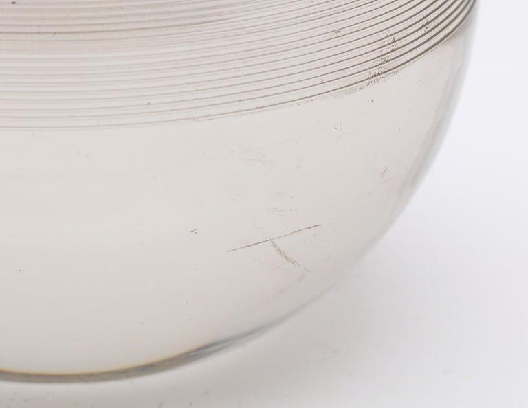 Large Edwardian Sterling Silver-Mounted Threaded Crystal Match Striker For Sale 3