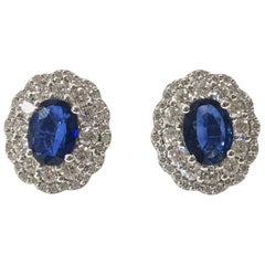 Large Edwardian Style Sapphire and Diamond Cluster Ear Studs