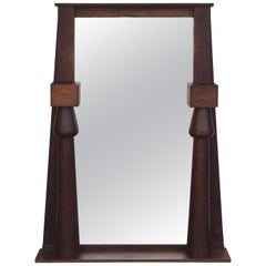 Large Egyptian Revival Arts & Crafts Stained Oak Mirror