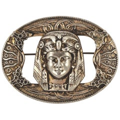 Large Egyptian Revival Gold Tone and Silver Tone Pharaoh Brooch circa 1930s