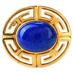 Large Egyptian Vintage Lapis Lazuli 14 Karat Brooch Pin