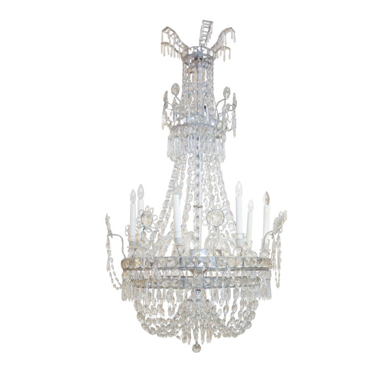 Large Eight-Light Crystal Chandelier For Sale 4