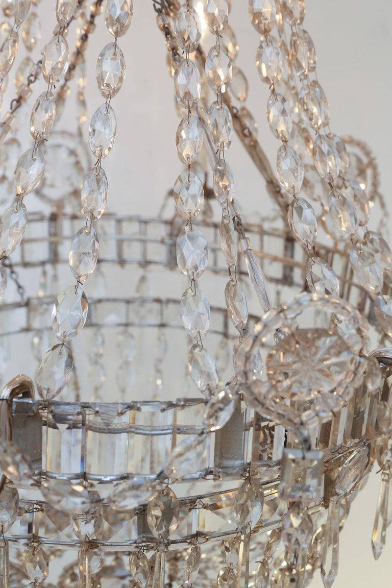 Large Eight-Light Crystal Chandelier For Sale 2