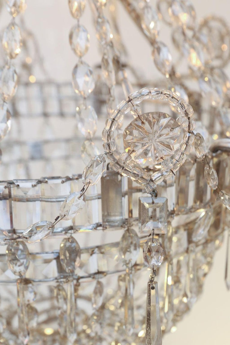 Large Eight-Light Crystal Chandelier For Sale 3