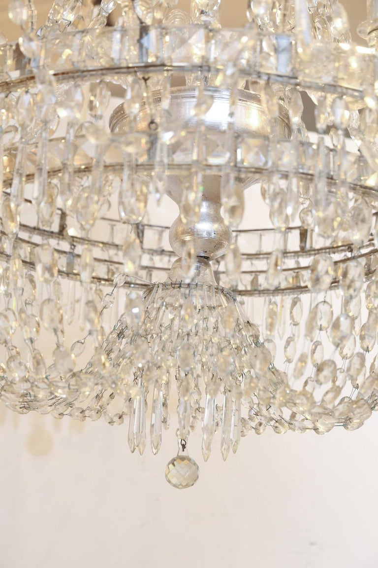 Neoclassical Large Eight-Light Crystal Chandelier For Sale