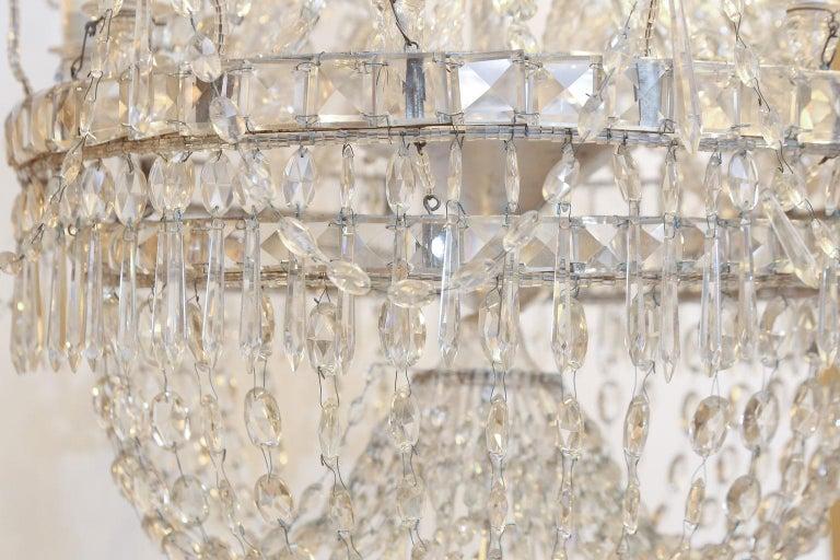 Italian Large Eight-Light Crystal Chandelier For Sale