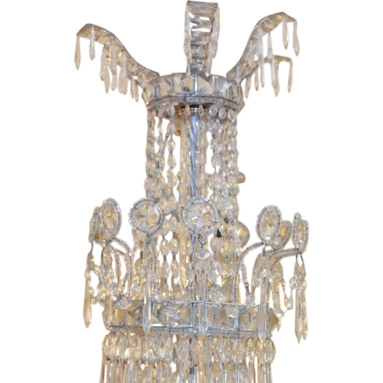 19th Century Large Eight-Light Crystal Chandelier For Sale