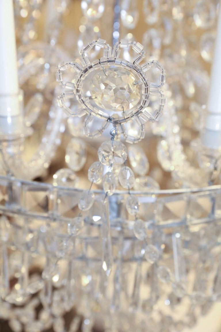 Large Eight-Light Crystal Chandelier For Sale 1