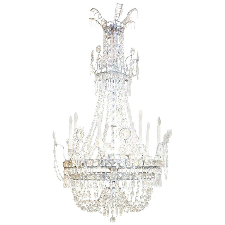 Large Eight-Light Crystal Chandelier For Sale 5