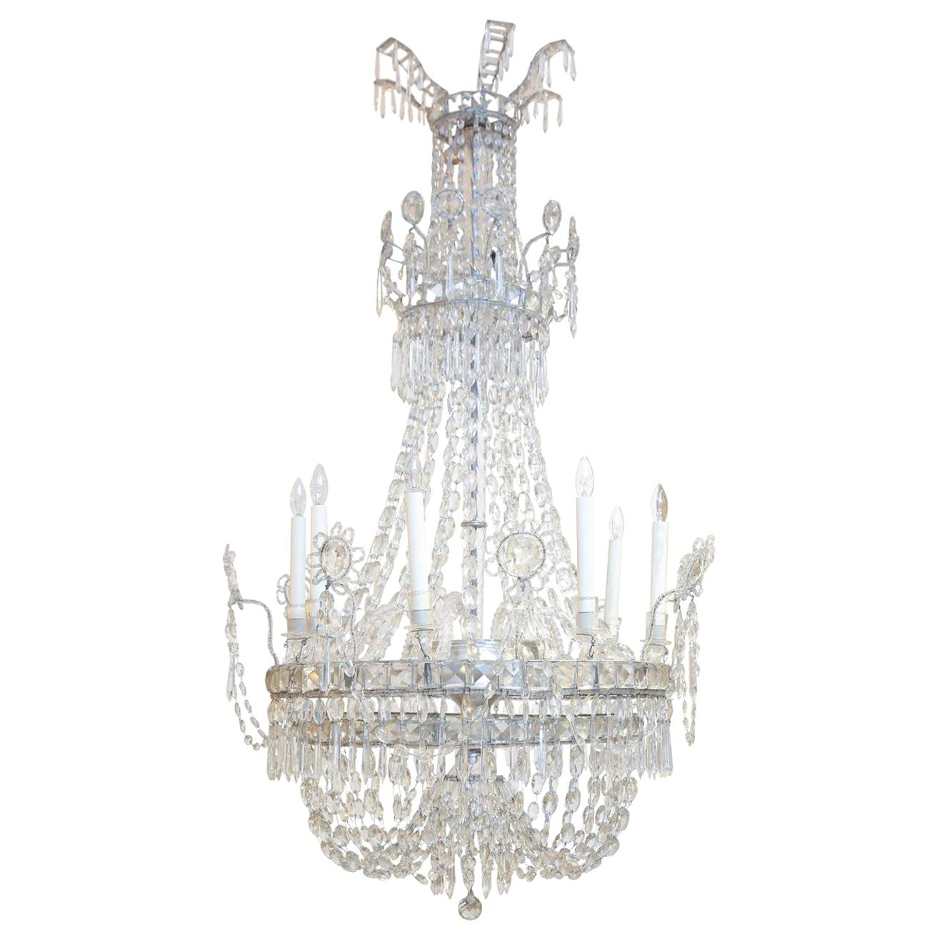 Large Eight-Light Crystal Chandelier