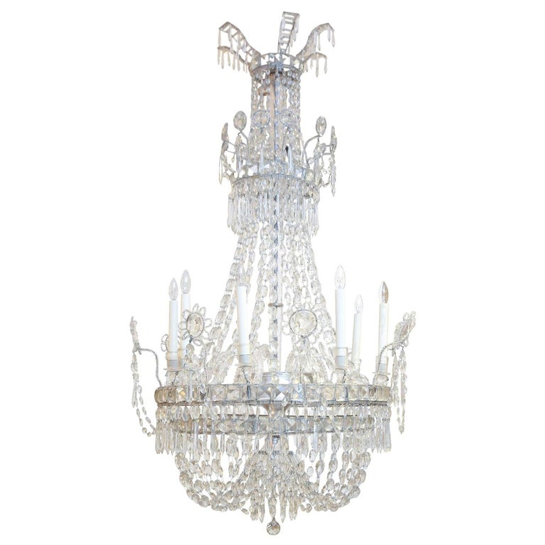 Large Eight-Light Crystal Chandelier For Sale