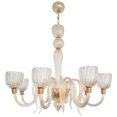 Large Eight Lights Murano Clear Glass Chandelier, 1970s, by Barovier e Toso