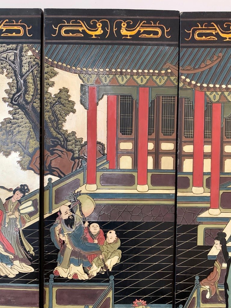 Large Eight-Panel Asian Coromandel Screen Room Divider Painting Work of Art For Sale 3