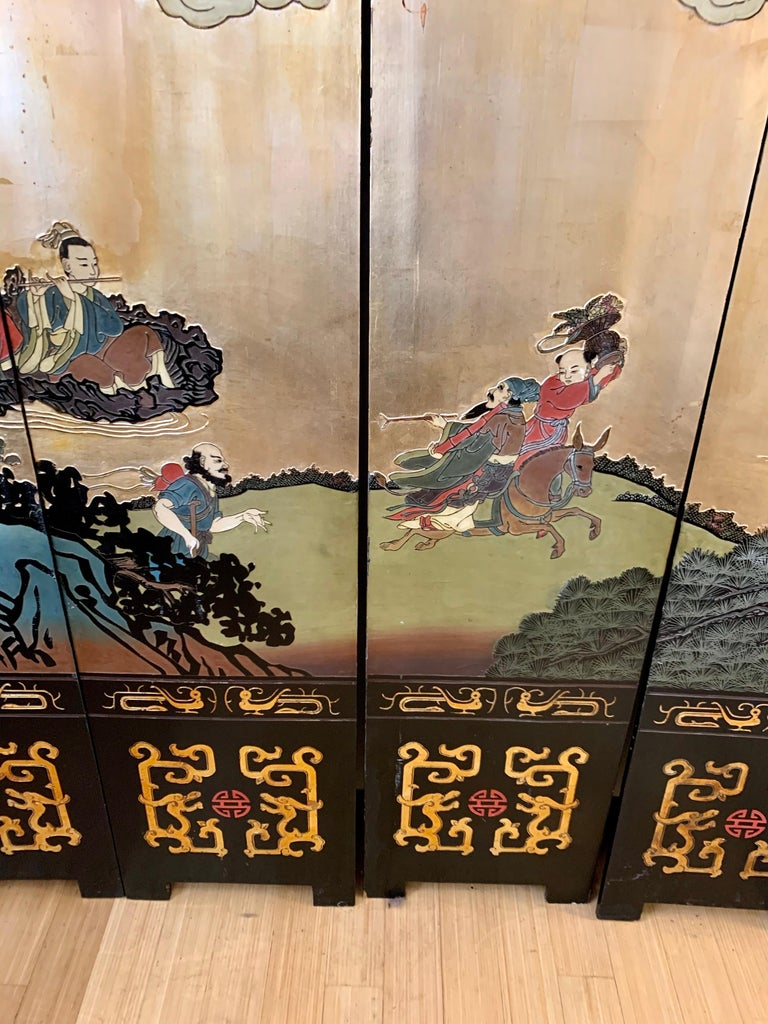 Large Eight-Panel Asian Coromandel Screen Room Divider Painting Work of Art For Sale 7