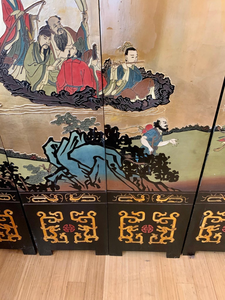 Large Eight-Panel Asian Coromandel Screen Room Divider Painting Work of Art For Sale 8