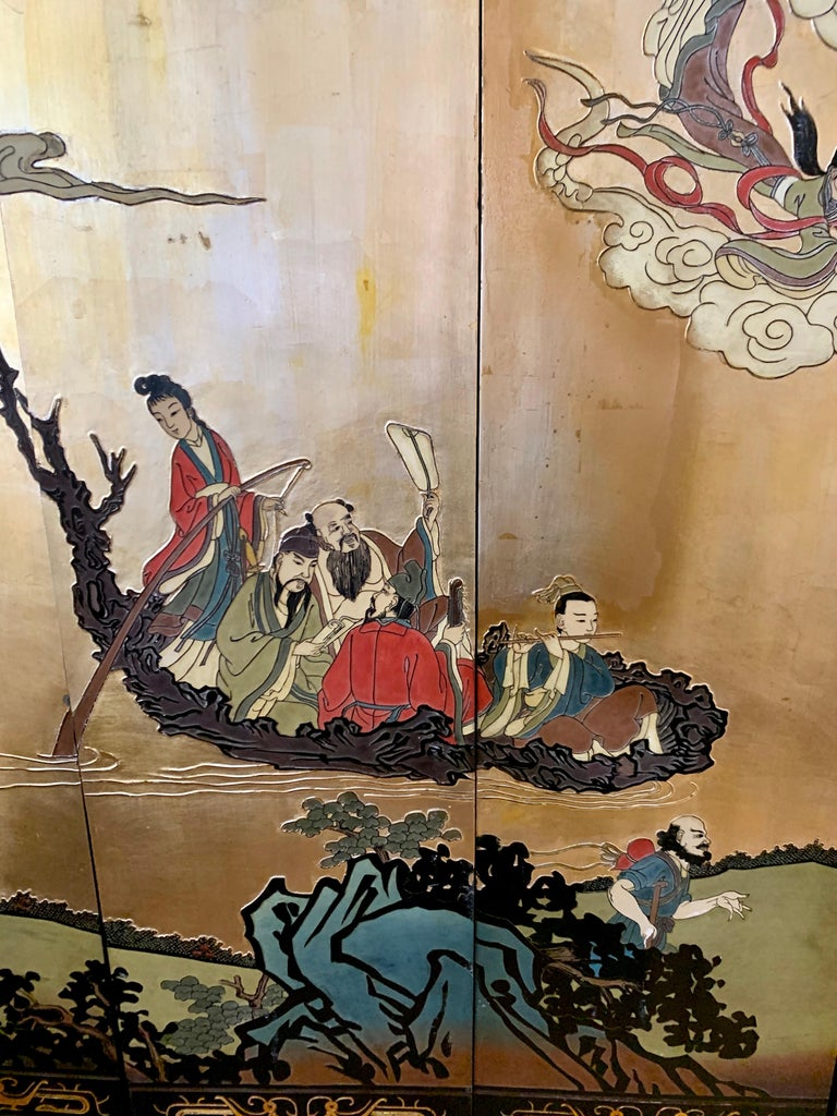 Large Eight-Panel Asian Coromandel Screen Room Divider Painting Work of Art For Sale 9