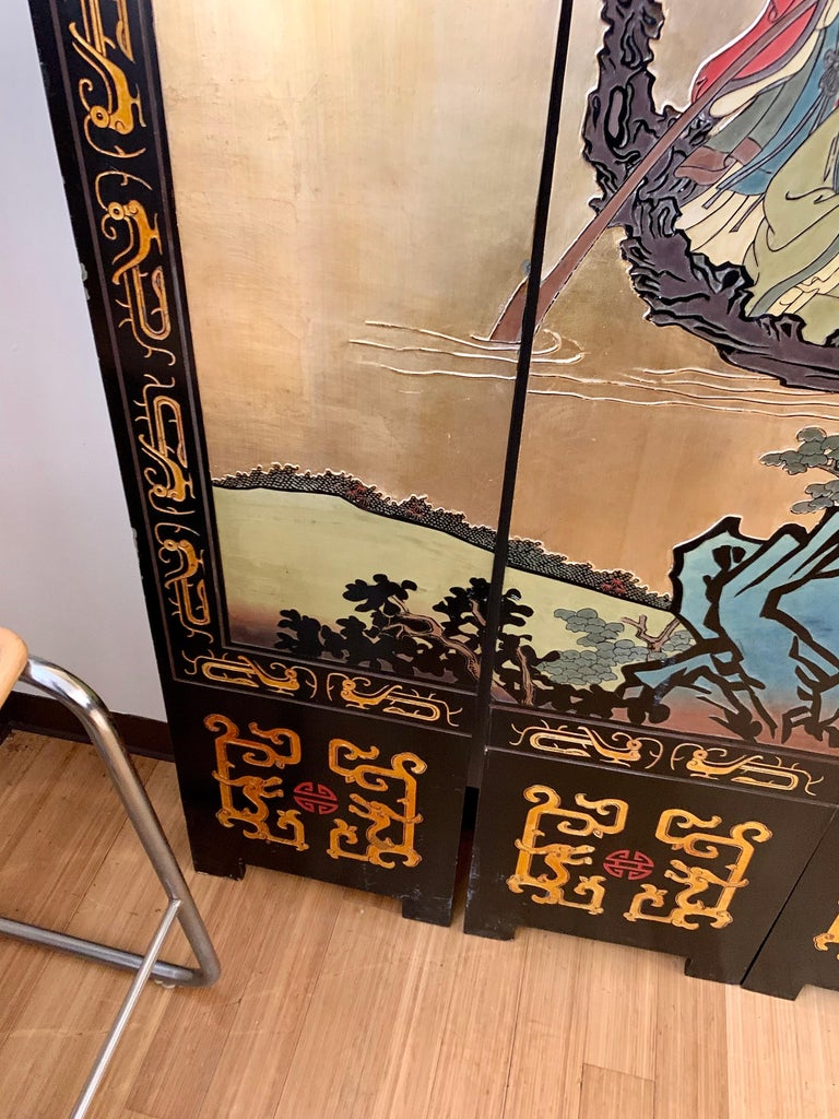 Large Eight-Panel Asian Coromandel Screen Room Divider Painting Work of Art For Sale 10